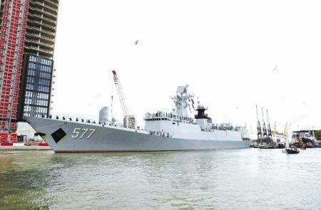 中国海军第二十六批护航编队7日结束对英国为期5天的友好访问后驶离